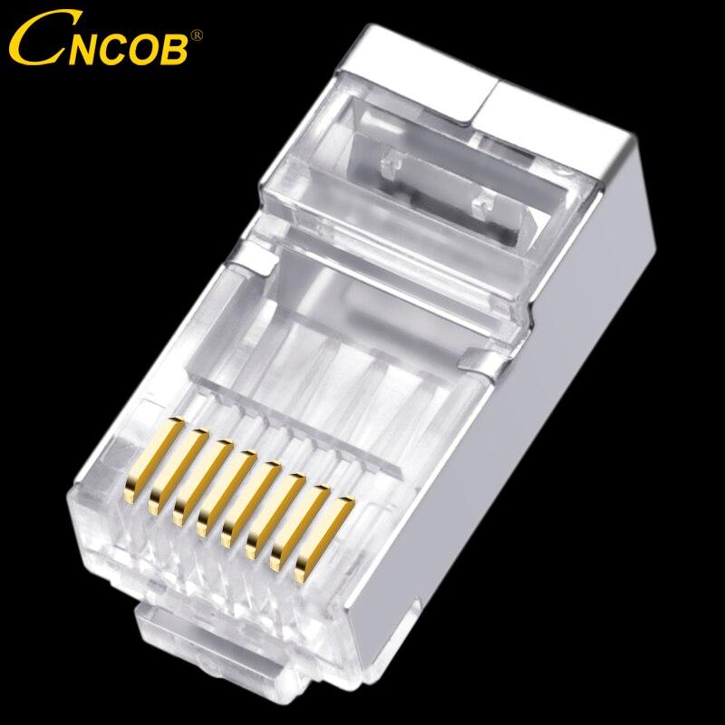 Cncob rj45 Cat6 réseau connecteur fil diamètre 1.3mm, 8p8c ftp Gigabit Ethernet Modulaire connexion RJ-45 tête de cristal, plug