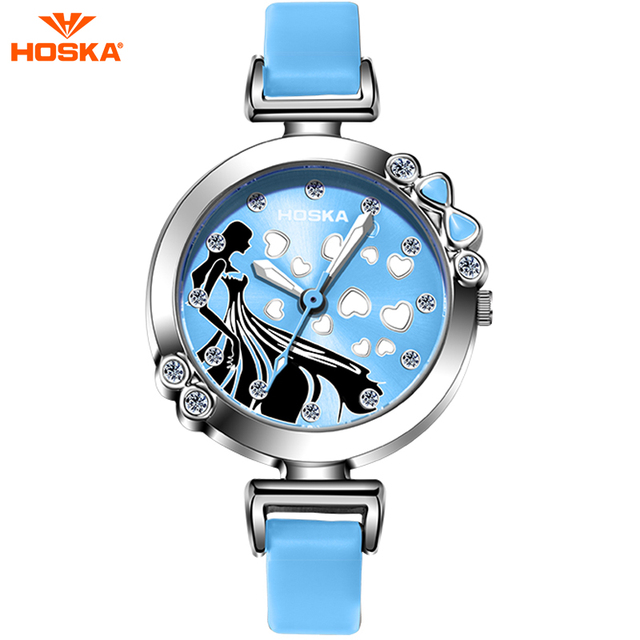 HOSKA 2017 Cute Cinderella Children Watch for Girl Pink Slim Leather Strap Ultra Thin Quartz-watch montre infant H802S Christmas