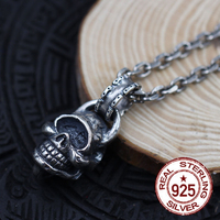 925 Sterling Silver Men's Pendant Skull Brass Hang Drop Individual Trend Hundred Ride Motorcycle Style Gift Your Lover Real New