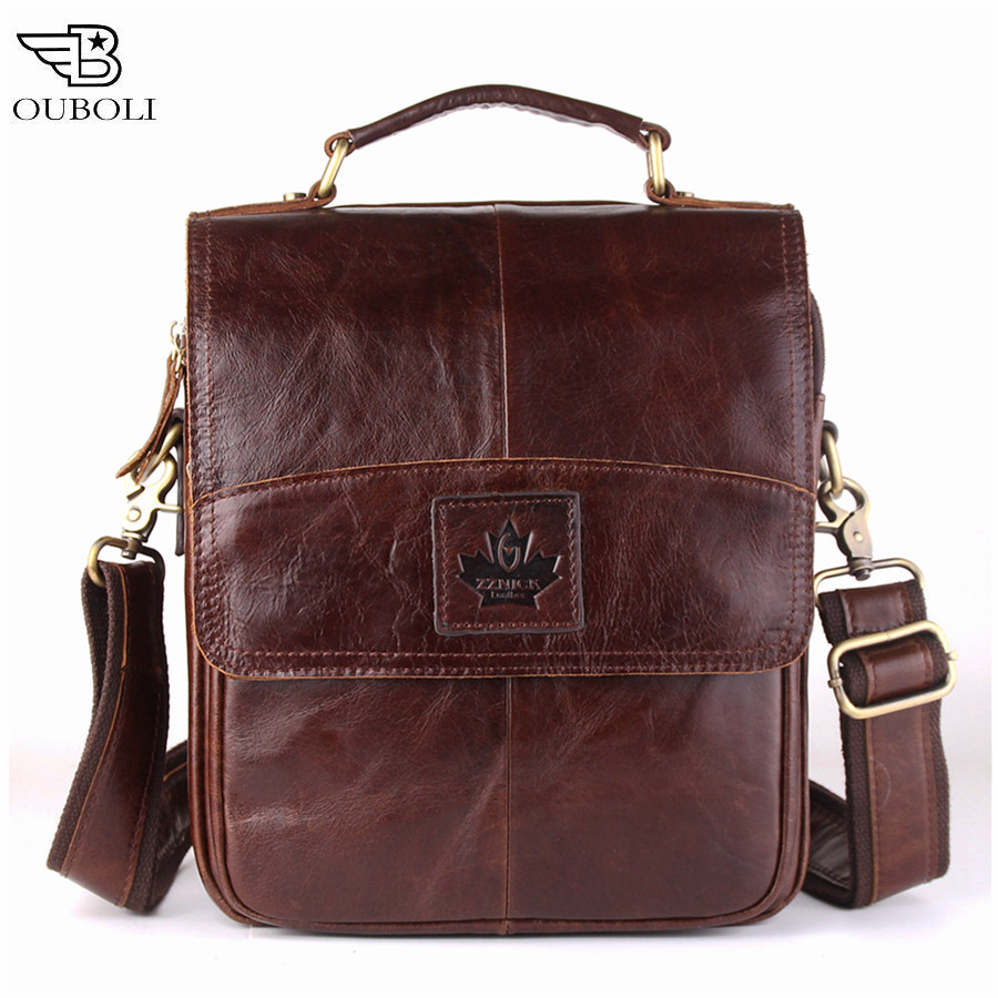OUBOLI Genuine leather men bags