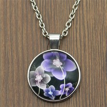 Dropshipping Vintage 2 Colors 25mm Round Glass Cabochon Flowers Pendant Necklaces For Women