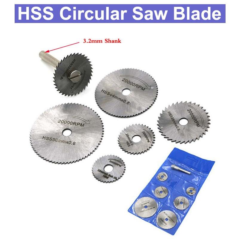 URANN 7pcs/Set  Mini HSS Circular Saw Blade Rotary Tool For Dremel Metal Cutter Power Tool Set Wood Cutting Discs Drill Mandrel