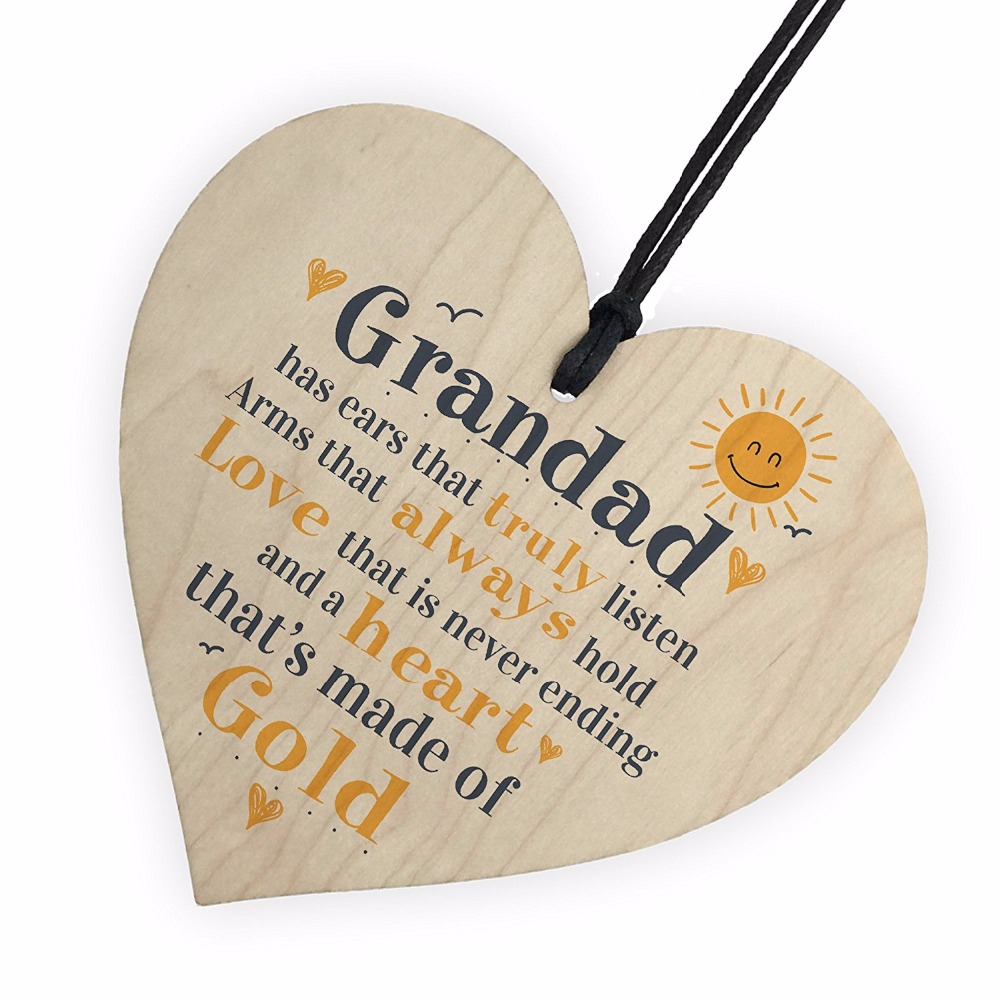 Fathers Day Wooden Heart Plaque Dad Grandad Grandpa Birthday Gift From Grandchildren Christmas Costumes DIY Tree Decorations