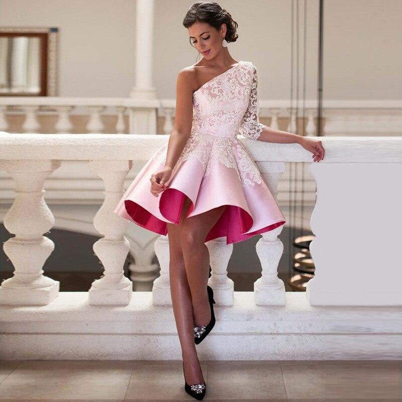 2017 elegante de un hombro apliques media manga mini pink party dress robe de có