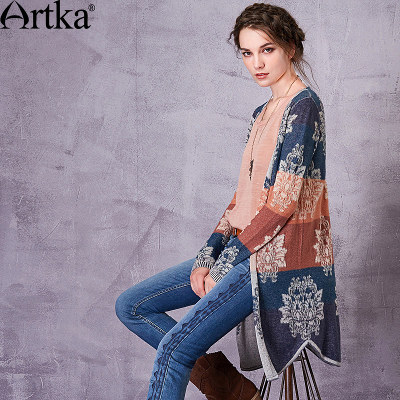 Artka Women's 2018 Autumn Patchwork Jacquard All-match Cardigan Vintage V-Neck Long Sleeve Single Breasted Knitwear WB10271C
