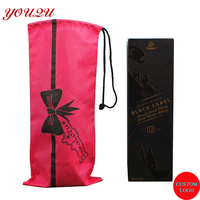 NON WOVEN DRAWSTRING WINE PACKING BAG BOTTLE BAG WITH LOGO SCREEN PRINTING