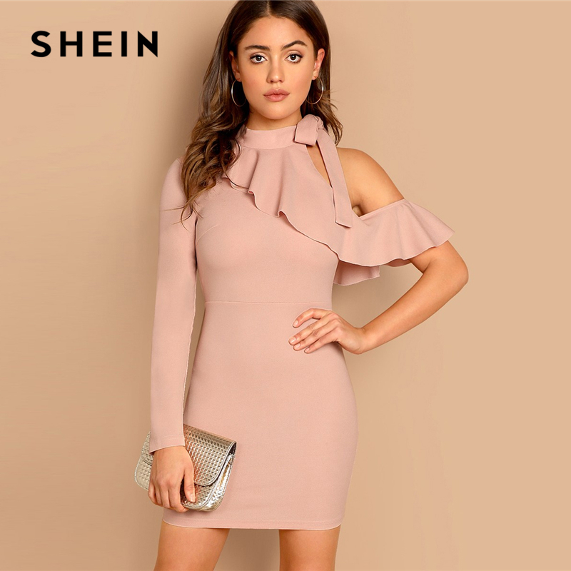 Шеин розовый асимметричный рябить рукав связали средства ухода за кожей шеи платье одно плечо пикантные Платья для вечеринок 2019 для женщи