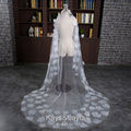 White/Ivory Long Wedding Veils Flowers Bridal Veil Wedding Accessories Veu de Noiva Longo Free Ship