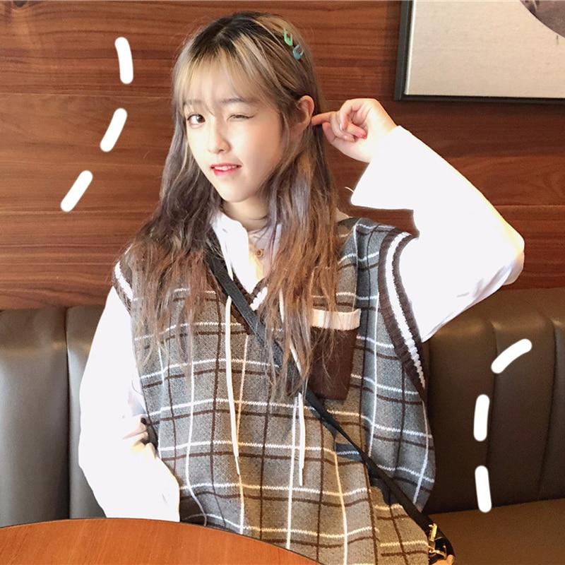 2018 Frühling Herbst Frauen Mode Marke Korea Stil Adrette Student Plaid Sleeveless Lose Pullover Weibliche Mädchen Teen Weste Pullover