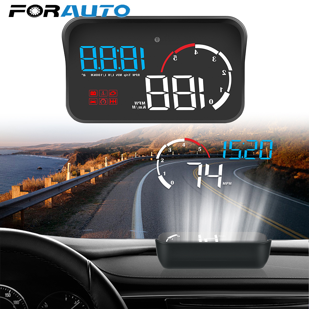 M10 Car HUD Head Up Display OBD2 II EUOBD Overspeed Warning System Projector Windshield Auto Electronic Voltage Alarm