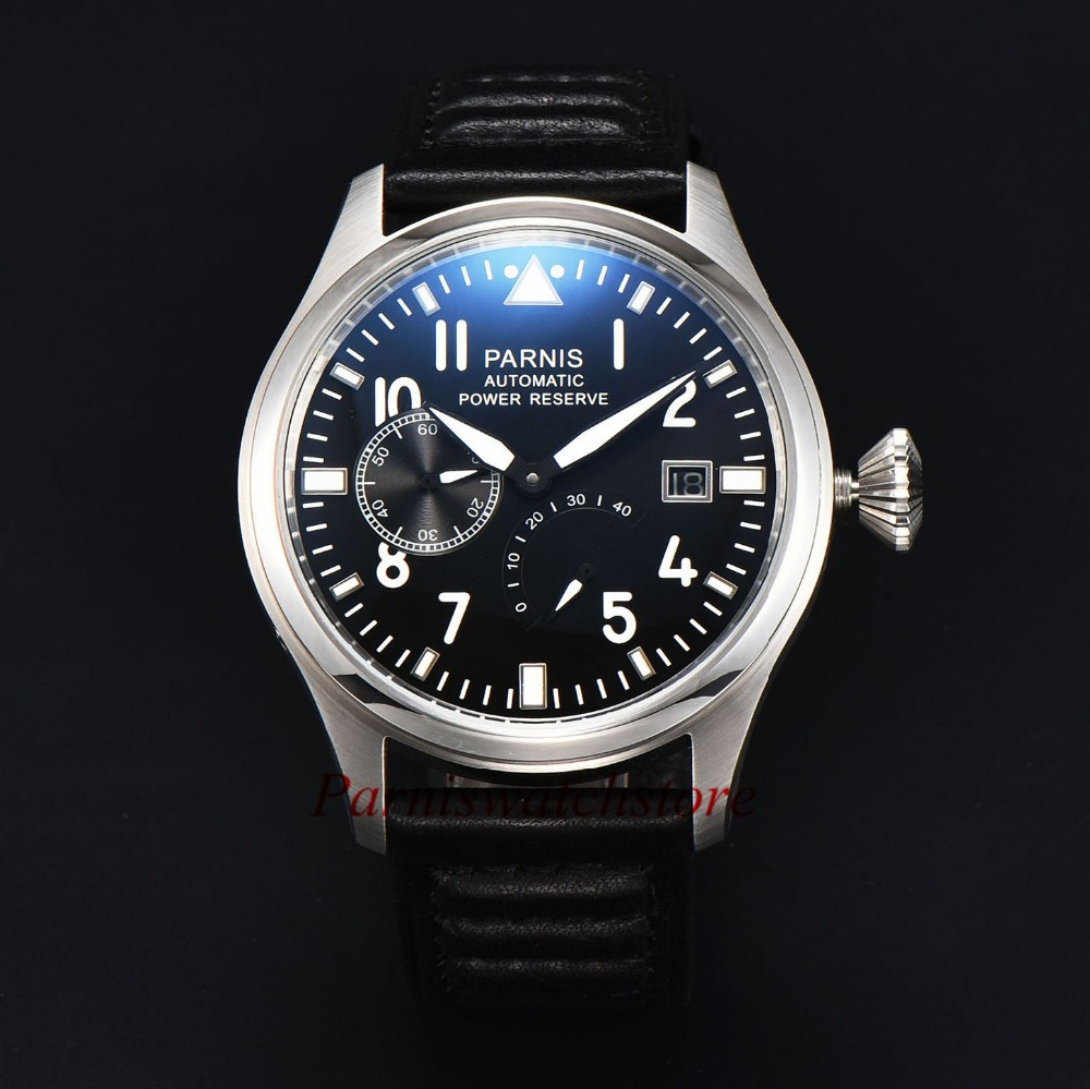Fashion 43mm Men Watch Parnis Power Reserve Watches Black Dial Sea-gull 2530 Automatic Movement Free Shipping