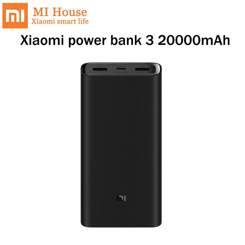 Original Xiaomi Power Bank 3 20000mAh Capacity PLM07ZM USB C 45W Dual Way Quick Charge Extenal Battery