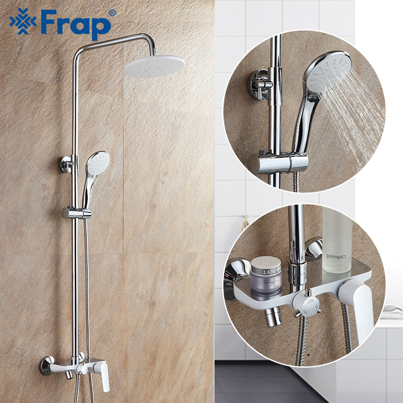 Frap Shower System white bathroom shower faucet brass bath shower mixer tap faucet with rainfall shower