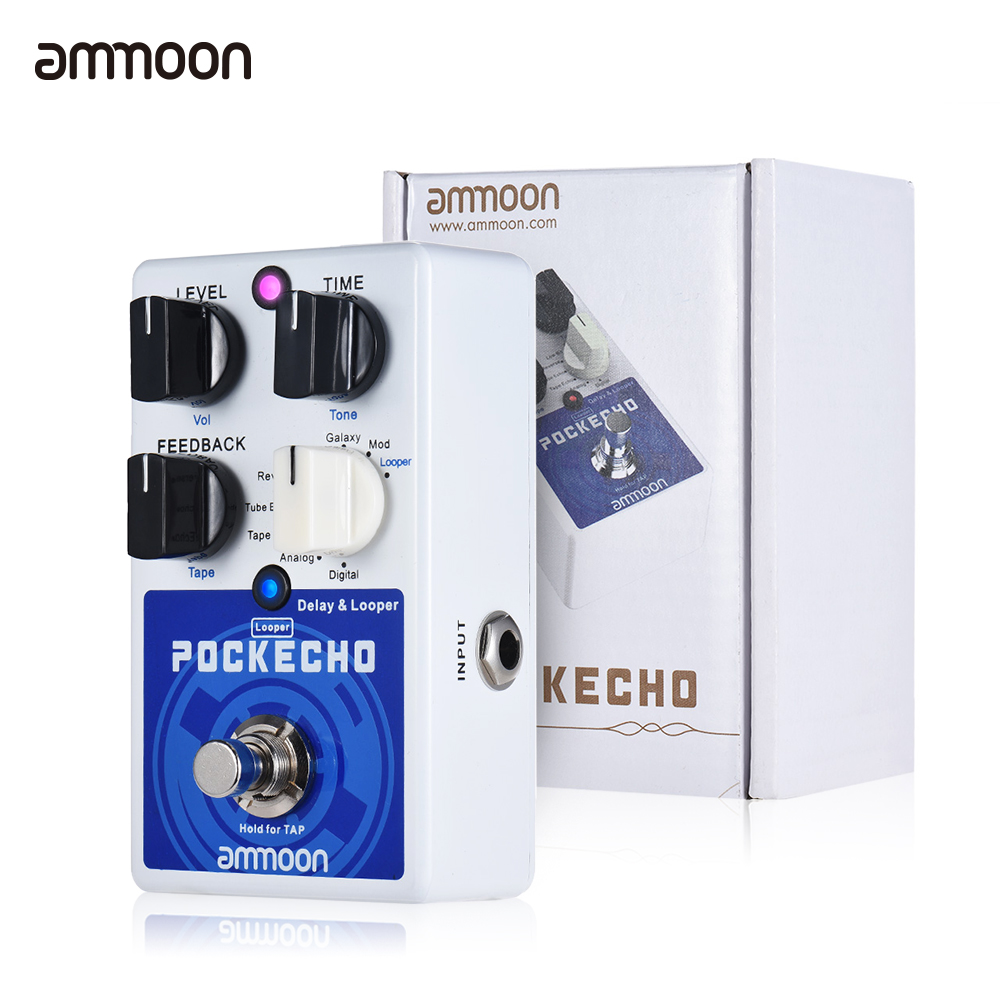 ammoon POCKECHO Delay & Looper Guitar Effect Pedal 8 Delay Effects Max. 300s Loop Time Tap Tempo Function