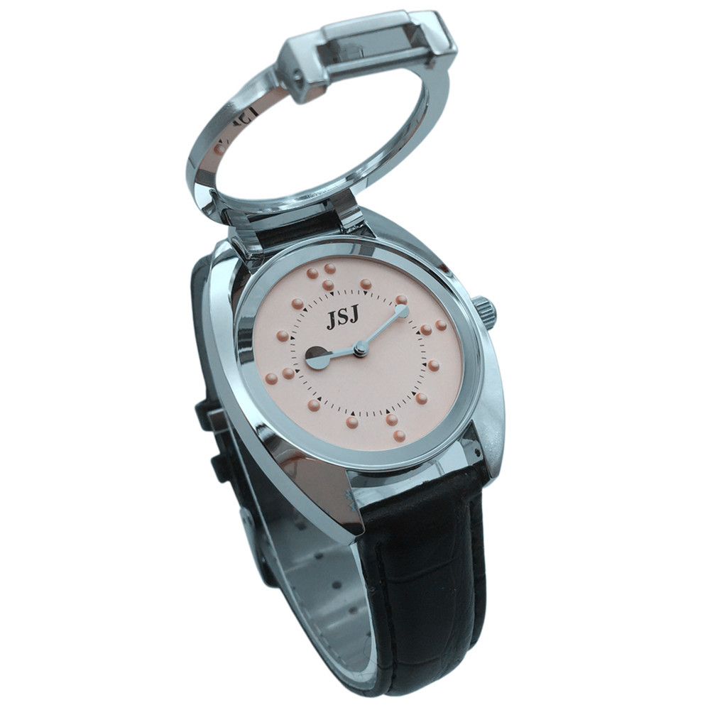 Tactile Watch For Blind People With Leather Strap, Pink Dial