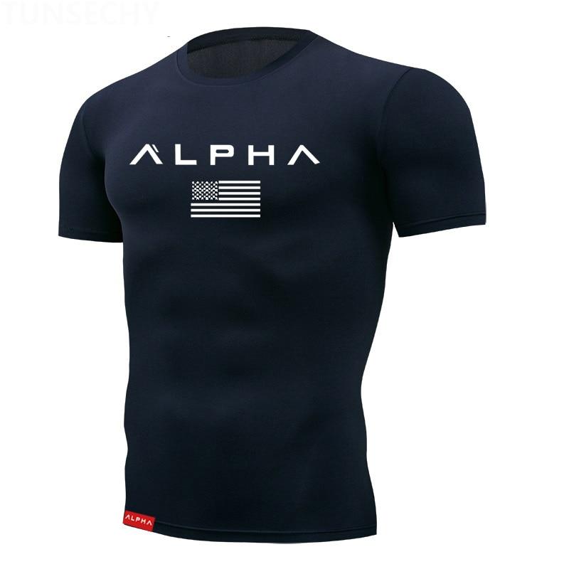 2019 Tight T Shirt Mens Short Sleeve Running Shirts Quick Dry Compression  Tshirt Fitness Tights Sport Shirt Men Gym Sports Wear