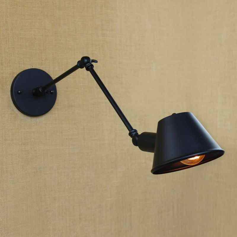 Черный Лофт ретро матовый Железный Регулируемый качели длинные руки для чтения настенный светильник огни e27/e26 бра для гостиной прикроватный бар кафе