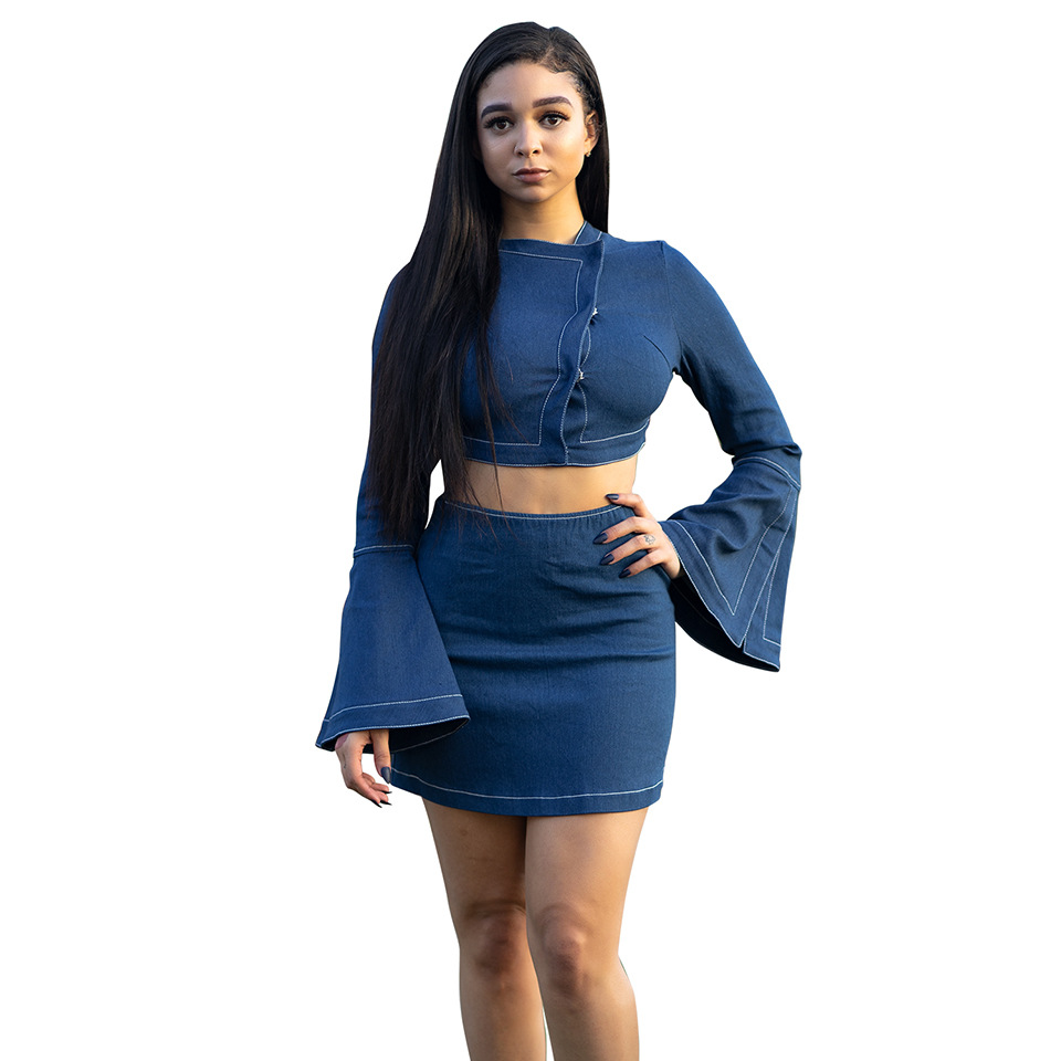Best selling womens American denim horn sleeve button high waist skirt set Womens Two Piece Set Skirt Long Sleeved