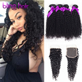 Brazillian Kinky Curly Virgin Hair With Closure 4 Bundles with Lace Closure 7a Grade Unprocessed Kinky Curly Hair with Closure
