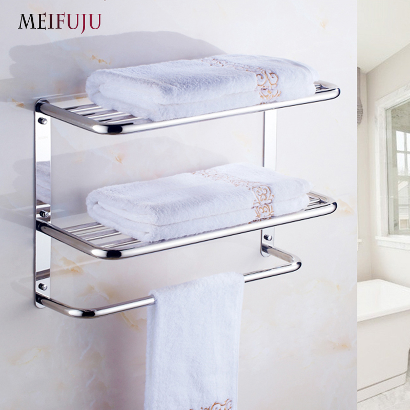 MEIFUJU SUS304 Stainless Steel Bathroom Towel Rack Single Dual ...