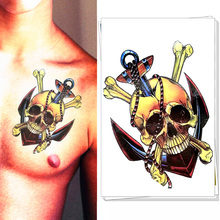 Pirate Skull Anchor Temporary Body Art Flash Tattoo Stickers, 21*15cm Waterproof Henna Tatoo Summer Style Adult Sex Products