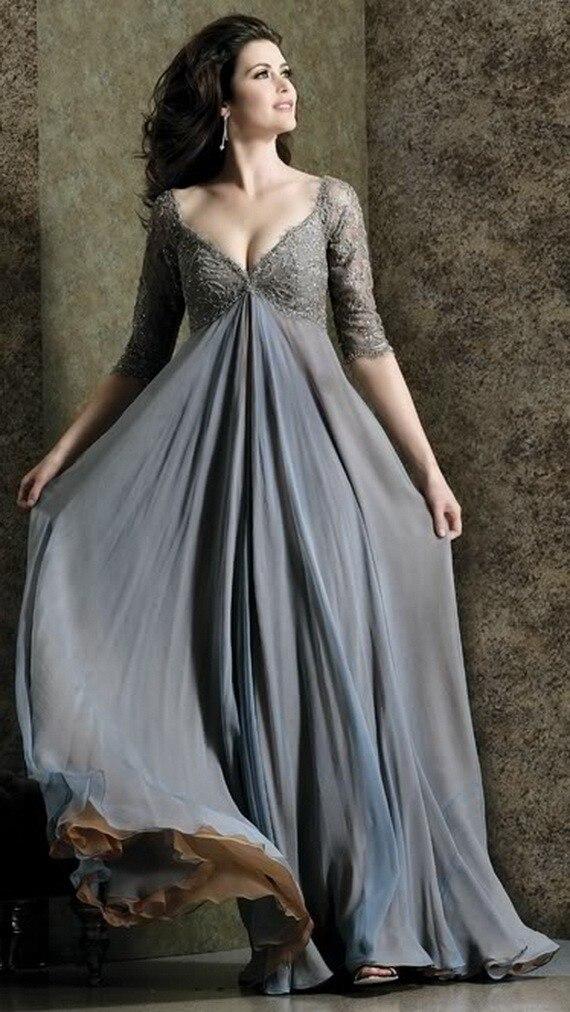 Plus size prom dresses v-hals 3/4 mouwen chiffon kant vloer lengte - Bruiloft feestjurken
