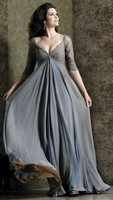 Plus Size V neck 3/4 Sleeves Chiffon Lace Floor Length Ruffles Empire Waist Party Gowns Mother of the Bride Dresses