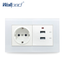 EU Socket and USB Wallpad Crystal Glass 110V-250V 146*86mm 16A EU Wall Socket and 3.0 Double Quicker USB Charger