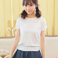 Princess sweet lolita Tees uncle flower angel embroidery wings waves Doll brought Sweet lovely Cotton short sleeve Tees UF02