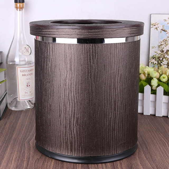 luxuriou wood grain rubbish bins kitchen waste basket pu leathermetal double layer trash bin - Trash Containers For Kitchen