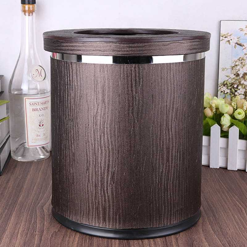Luxuriou Wood Grain Rubbish Bins Kitchen Waste Basket Pu Leather Metal Double Layer Trash Bin Kitchen Trash Can For Home Pljt12 Waste Bins Aliexpress