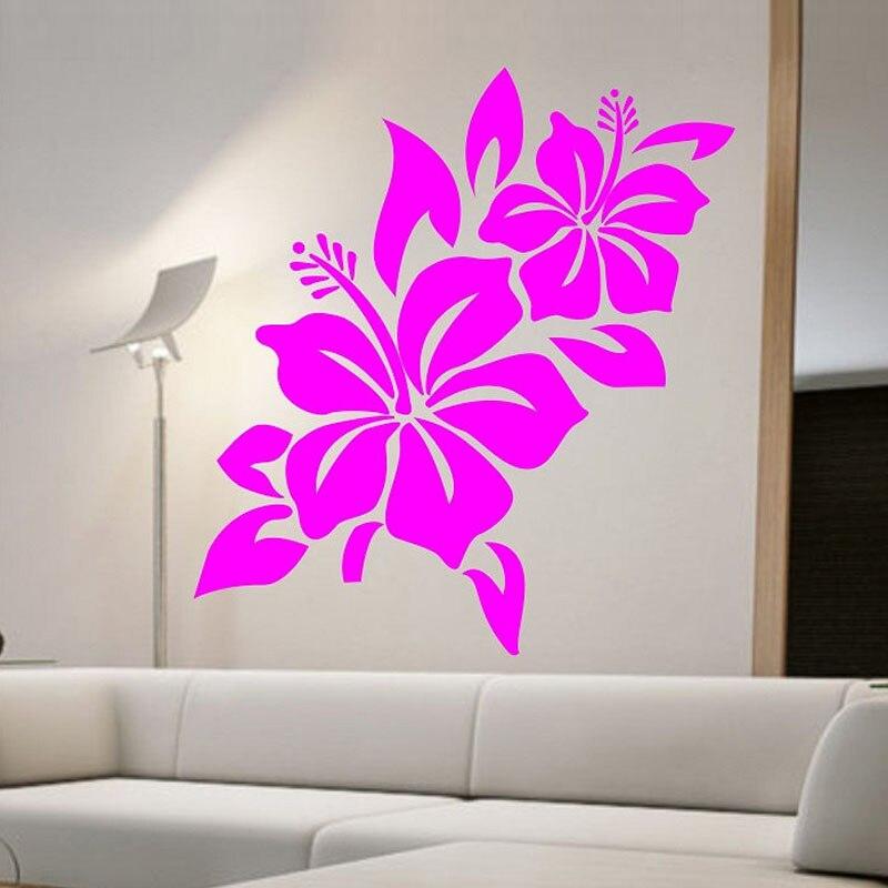 Zooyoo Hibiscus Flower Wall Decal Namaste Vinyl Sticker Art Decals Bedroom Design Mural Home Decor Room Decoration Wallpaper In Stickers From