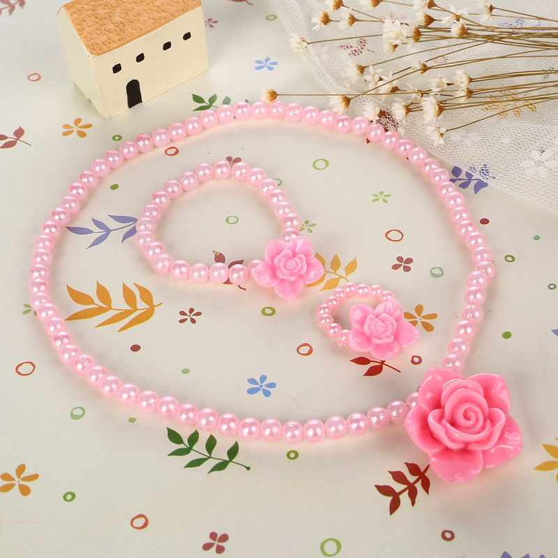 Beaded Children imitation Pearl Jewelry Best Baby Pink Girl Kids Jewelry Set Rose Flower Necklace Bracelet Ring