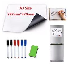 Купить с кэшбэком A3 Size Dry Wipe Magnetic Whiteboard for Fridge Magnet Marker Pen Eraser Home Office Kitchen Magnet Flexible Board White Boards