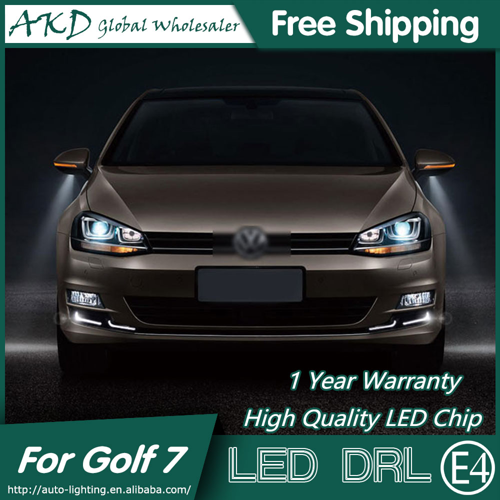 AKD Car Styling LED Fog Lamp for VW Golf 7 DRL 2013-2015 Golf7 LED Daytime Running Light Fog Light Signal Parking Accessories eouns led drl daytime running light fog lamp assembly for volkswagen vw golf7 mk7 led chips led bar version