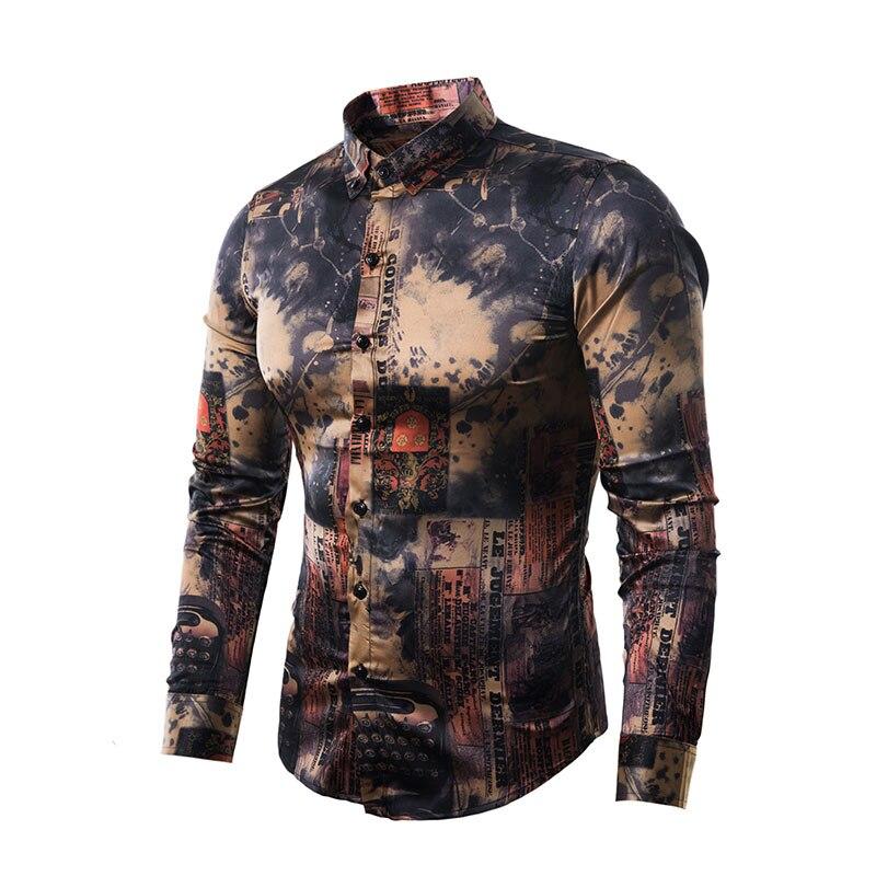 Vintage Floral Silk Satin Shirt Men Camisa 2019 Fashion Slim Fit Long Sleeve Mens Dress Shirts Business Casual Social Shirt Male