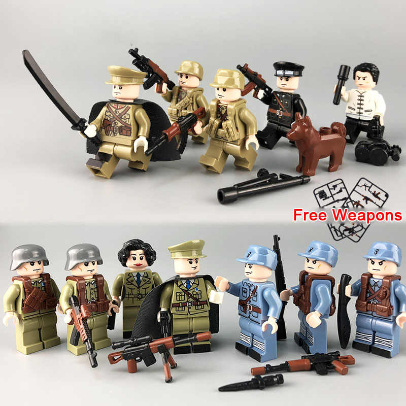 Kitoz WW2 Female Army Soldier Figure Color Weapon Chinese VS Japanese  Sino-Japanese War Building Block Toy Compatible with Lego