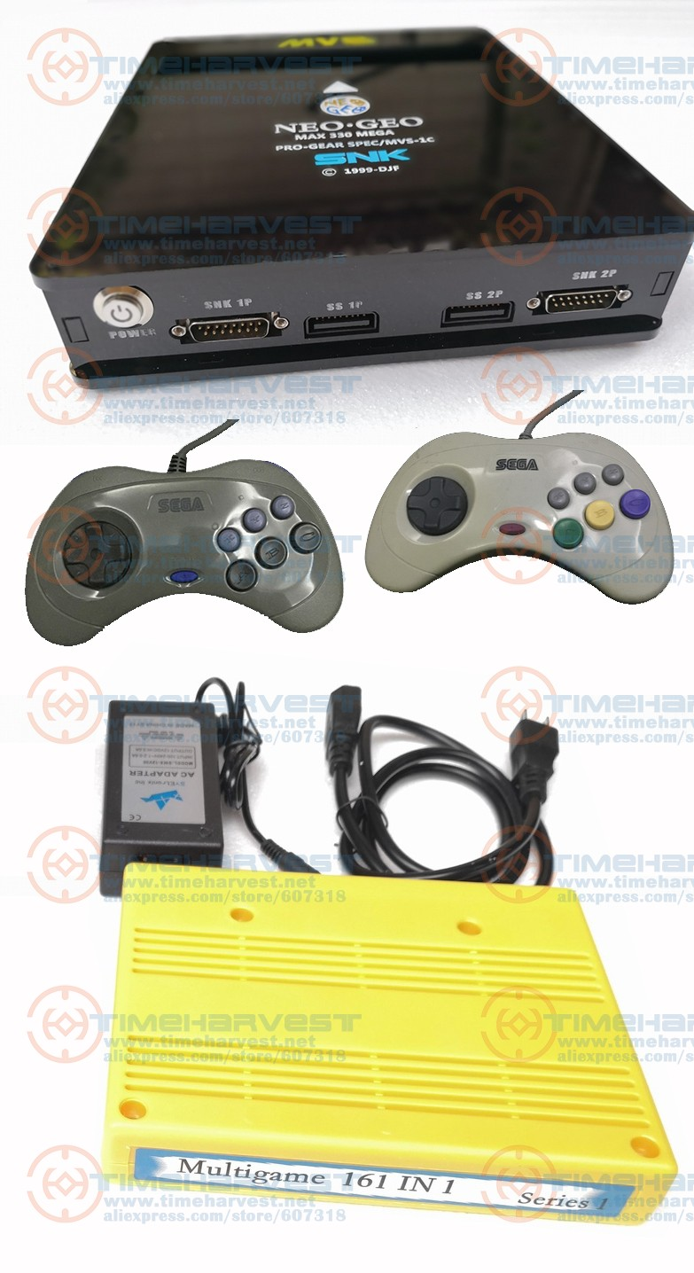 <font><b>CBOX</b></font> <font><b>MVS</b></font> console SNK NEOGEO CMVS with 2 pcs second-hand Saturn joypad $ 1 piece 161 in 1 game cartridge Arcade TV games for HOME image