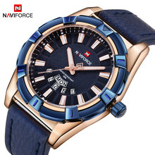 Фотография New Arrival Men Sports Watches NAVIFORCE Fashion Brand Waterproof Analog Quartz Watch Mens Leather Calendar Clock Man Blue Watch