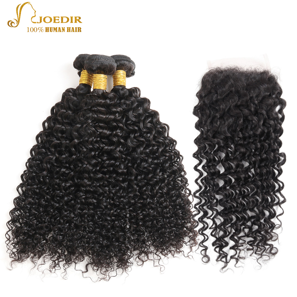 Joedir Hair Brazilian Kinky Curly Bundles 100% Mänskliga Hårpaket - Skönhet och hälsa