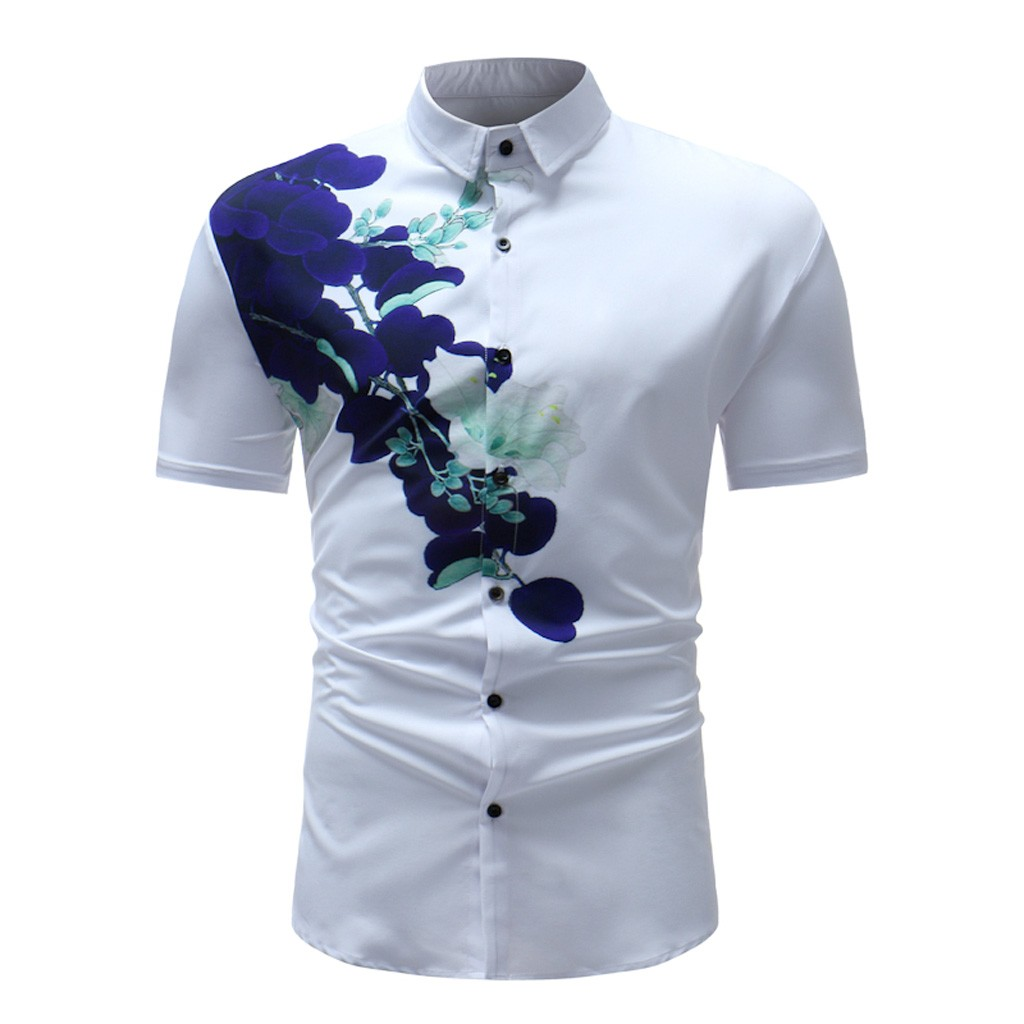 Plus Size Men Shirt Summer 2019 Floral Pritned Short Sleeve Turn Down Collar Fashions Men Party Shirts Moda Masculina