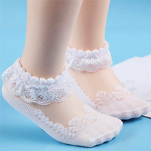 Lace Girls Baby Princess Socks Summer Kids Toddler Girls Ankle Sock Solid Infant Girl Toddler Pink White Hollow Out Baby Sock(China)