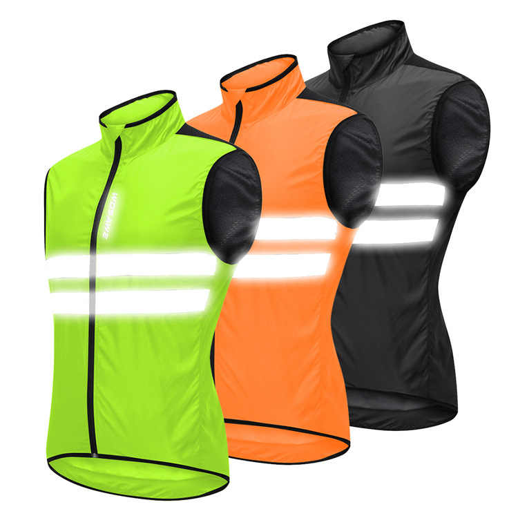 Reflective Safety Vest Green/Black/Orange Bicycle Jersey Men Women Windproof chaleco bicicleta Windbreaker Running Cycling Vest