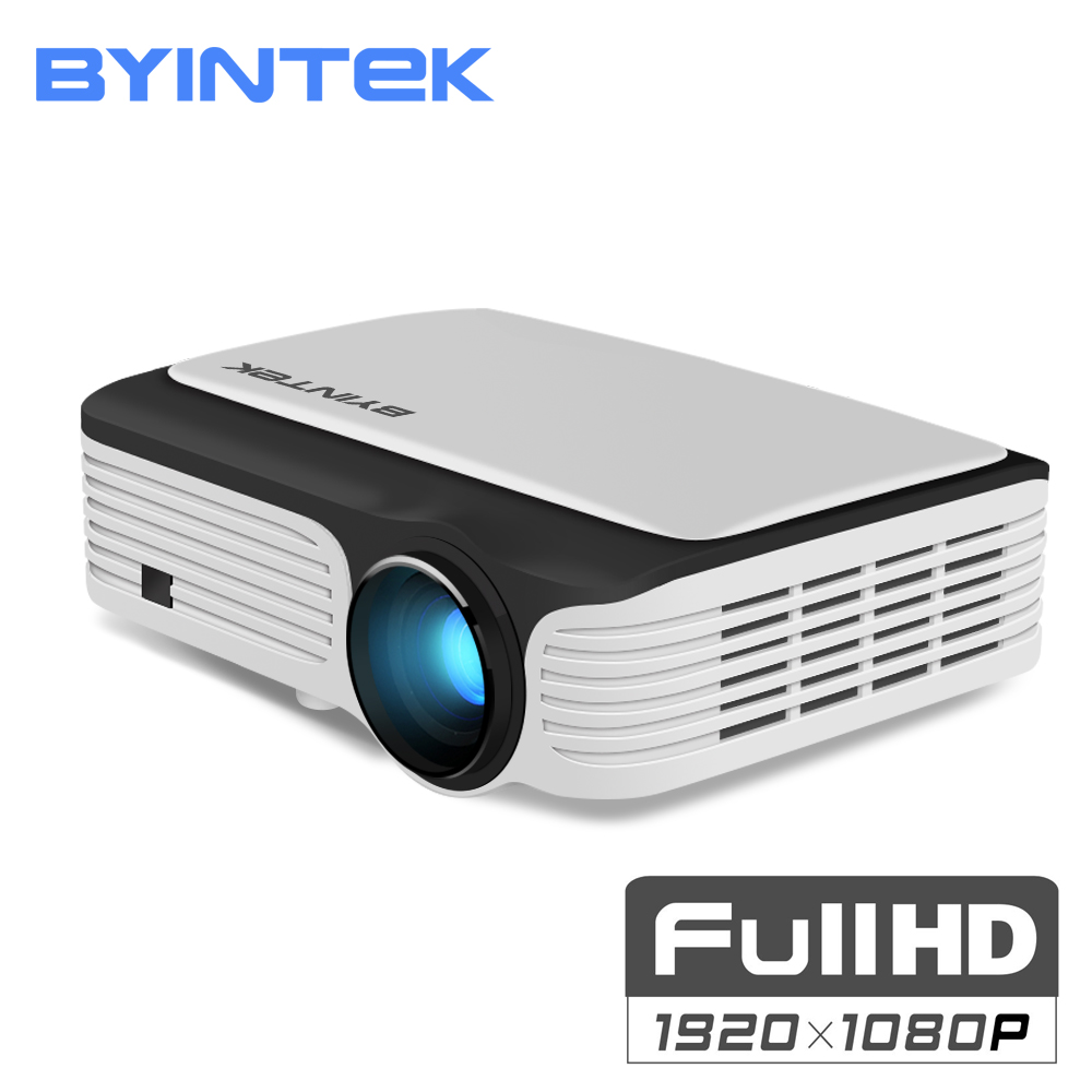 лучшая цена BYINTEK MOON M1080 FULL HD 1080P Portable LED Mini Projector 1920x1080 LCD 200inch Video LCD For Home Theater Game Movie Cinema