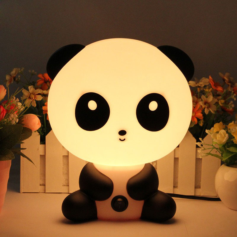 Panda Night Light Baby Bedroom Lamps Child Cartoon Pets Rabbit PVC Plastic Sleep Led Kid Lamp Bulb Nightlight For Children