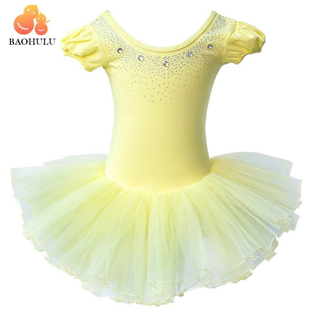 BAOHULU Yellow Cotton Ballet Dress Diamond Girls Tutu Ballet Dance Leotard Child Ballet Costume Leotards For Girls 3-7 Years