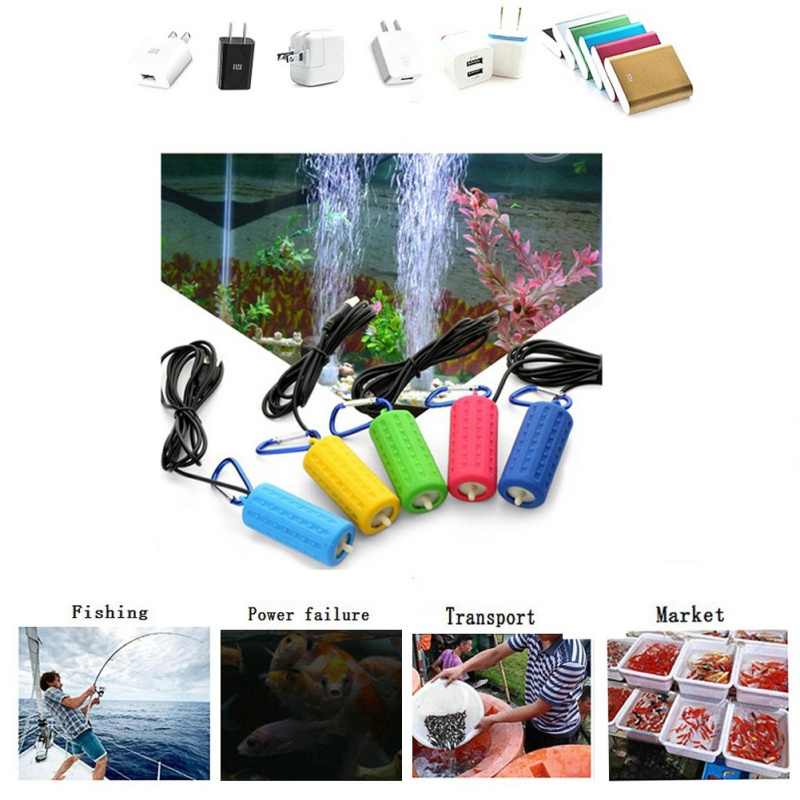 Portable Mini USB Aquarium Fish Tank Oxygen Air Pump Outdoor Fishing Mute Energy Aquatic Terrarium Fish Tank Accessories