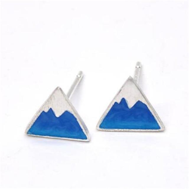 5f90e6be9 100% Solid 925 Sterling Silver Stud Earrings White Blue Triangle Iceberg  Shape Earrings for Women Lovely Mount Fuji Earring