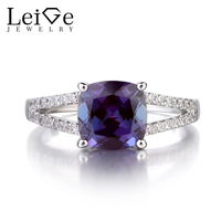 Leige Jewelry 925 Sterling Silver Ring Alexandrite Gemstone Cushion Cut Retro Style Wedding Engagement Rings For