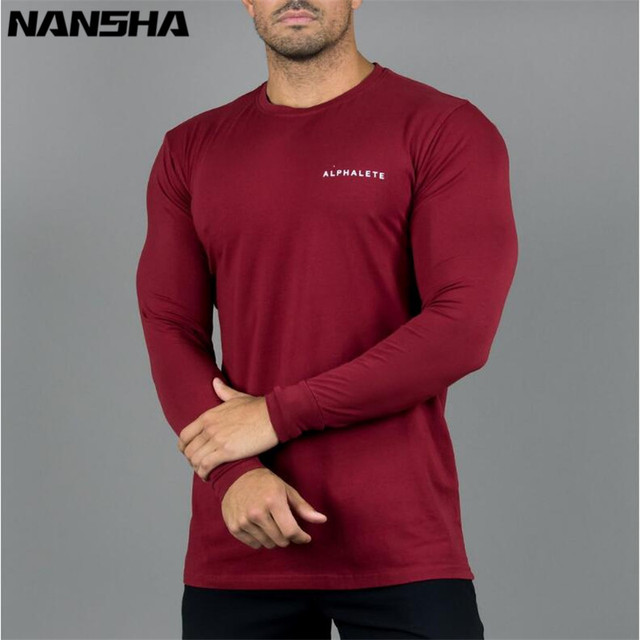 ALPHALETE New Fashion Gyms Bodybuilding Sporting T-shirts Men Long Sleeve Fitness Men's Solid High Quality T-shirts